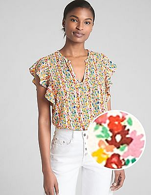 GAP Ruffle Sleeves Floral Print Split-Neck Top
