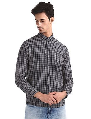 Roots by Ruggers Grey Contemporary Regular Fit Cotton Shirt