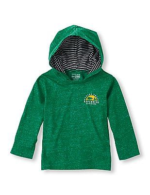 The Children's Place Toddler Boy Long Sleeve Marled Hooded Sweatshirt