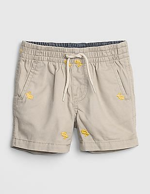GAP Baby Embroidered Bunny Shorts In Twill