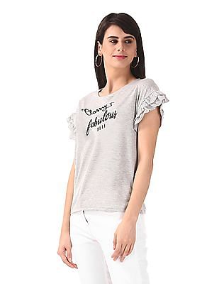 Elle Studio Grey Tiered Sleeve Printed Top