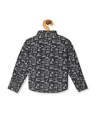 Donuts Grey Boys Printed Shirt With Detachable Bow