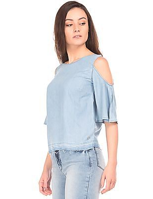 Elle Cold Shoulder Chambray Top
