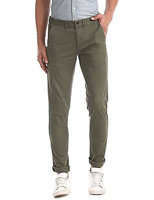 Arrow Sports Green Slim Fit Cotton Stretch Trousers