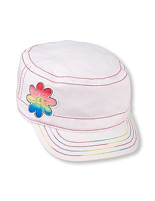 The Children's Place Toddler Girl White Rainbow Flower Military Hat