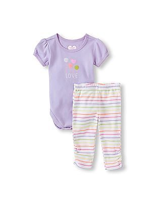 The Children's Place Baby Girls Ruched Short Sleeve 'Love' Balloons Bodysuit And Leggings 2-Piece Set