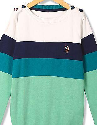 U.S. Polo Assn. Kids Girls Standard fit Striped Sweater