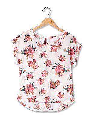 U.S. Polo Assn. Women High Low Hem Floral Print Top