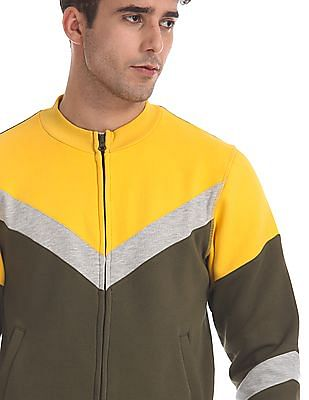 Flying Machine Olive And Yellow High Neck Colour Block Sweatshirt