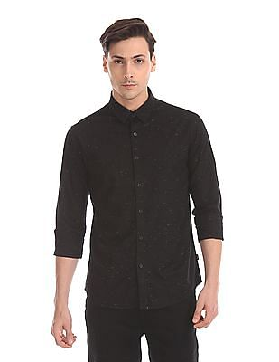 Flying Machine Concealed Button Down Collar Speckled Shirt