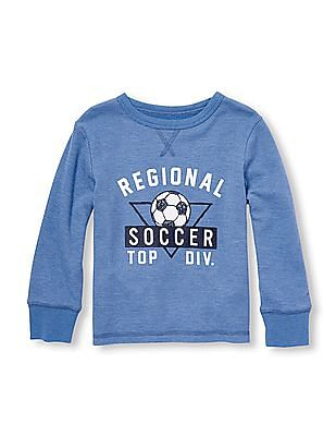 The Children's Place Toddler Boy Blue Long Sleeve Sports Graphic Thermal