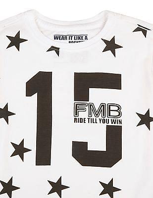 FM Boys Boys Round Neck Printed Front T-Shirt