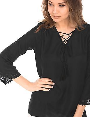 Cherokee Lace Up Bell Sleeve Top