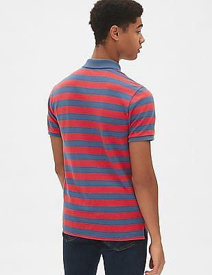 GAP Short Sleeve Stripe Pique Polo Shirt In Stretch