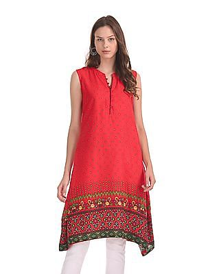 Karigari Printed Sleeveless Kurta