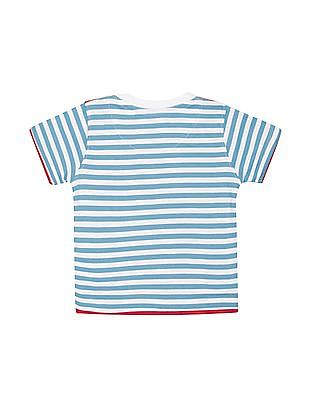 Donuts Boys Quilted Shoulder Striped T-Shirt