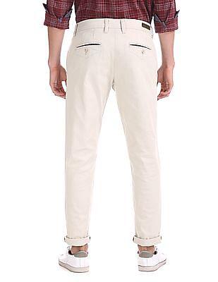 Ruggers Beige Modern Slim Fit Solid Trousers