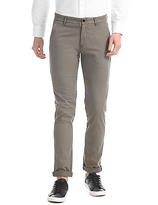 Arrow Sports Grey Chrysler Slim Fit Solid Trousers