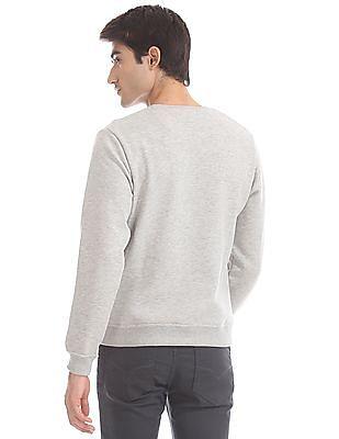 Flying Machine Grey Crew Neck Printed Sweatshirt