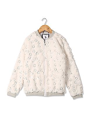U.S. Polo Assn. Kids Girls Faux Fur Bomber Jacket