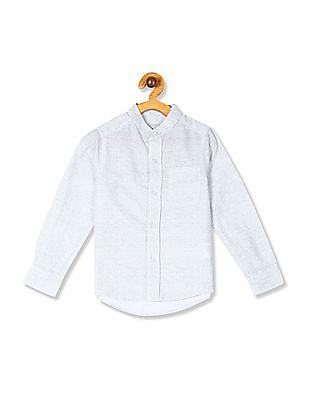 The Children's Place White Boys Long Sleeve Banded Collar Shirt