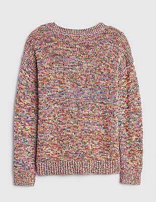 GAP Girls Multi Colour Rainbow Crew Neck Sweater
