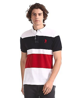 U.S. Polo Assn. White Colour Block Button Down Polo Shirt