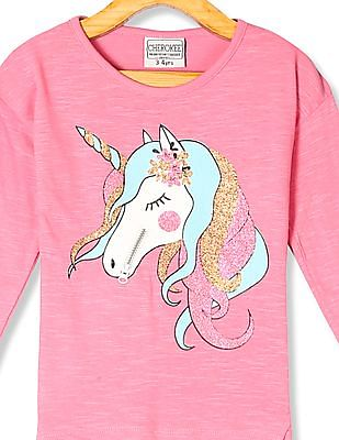 Cherokee Pink Girls Graphic Print T-Shirt