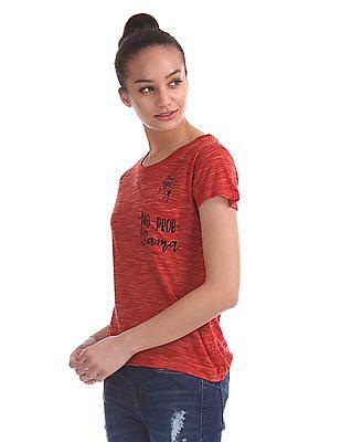 Flying Machine Women Patch Pocket Heathered T-Shirt