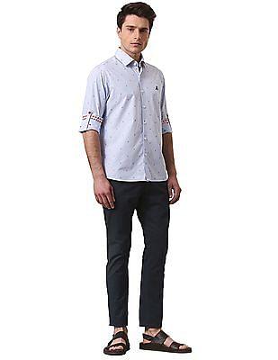 True Blue Slim Fit Printed Trousers