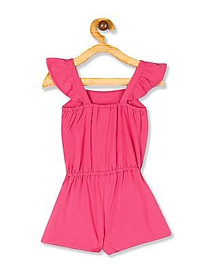 The Children's Place Toddler Girl Pink Sleeveless Puff Print Embroidered Flutter Romper