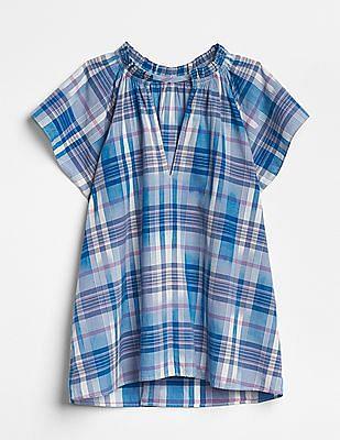 GAP Plaid Short Sleeve Split-Neck Top
