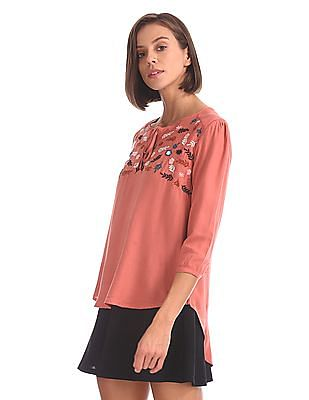 Cherokee Embroidered Peasant Top