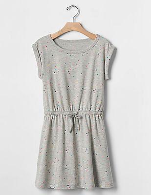 GAP Girls Grey Print Tie Dress