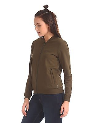Flying Machine Women Solid Zip Up Sweatshirt