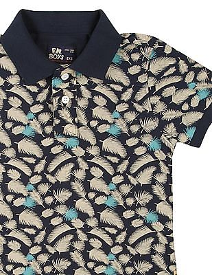 FM Boys Boys Fern Print Pique Polo Shirt