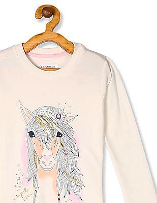 U.S. Polo Assn. Kids White Girls Graphic Print Sweatshirt