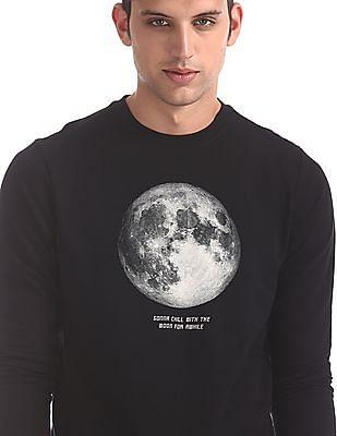 Flying Machine Black Ribbed Neck Graphic Print Sweatshirt