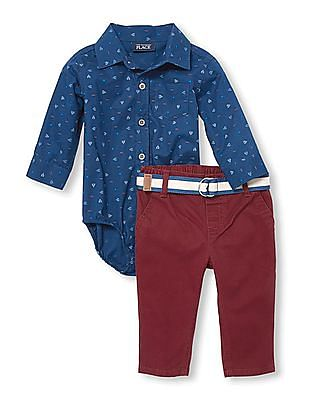 The Children's Place Toddler Boy Long Sleeve Geo Print Spread Collar Bodysuit And Belted Trousers Set