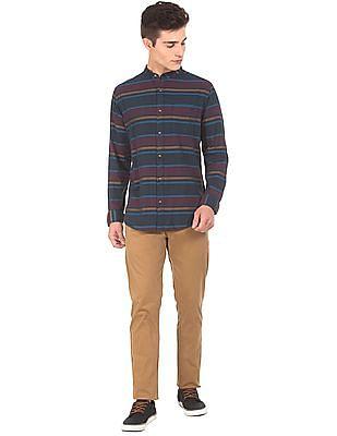 Aeropostale Mandarin Collar Contrast Striped Shirt