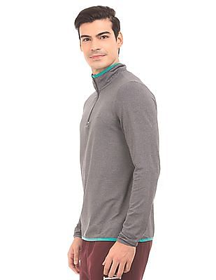 Aeropostale Zipper Placket Heathered T-Shirt