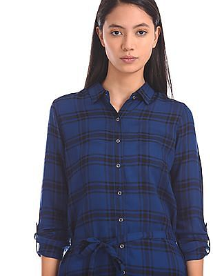 U.S. Polo Assn. Women Checked Shirt Dress