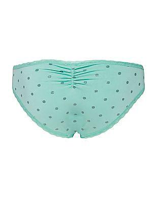 Aeropostale Lace Trim Polka Dot Bikini Briefs