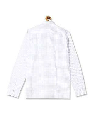 Excalibur White Semi Cutaway Collar Check Shirt