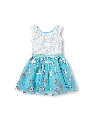 The Children's Place Toddler Girl Sleeveless Foil Butterfly Tutu Dress