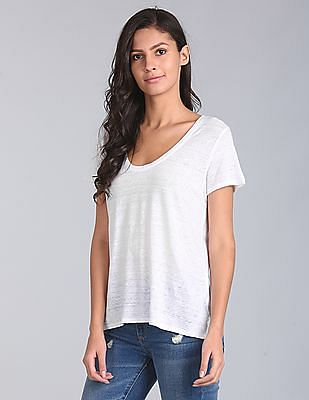 GAP Short Sleeve Scoop Neck T-Shirt In Linen