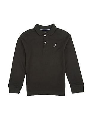 Nautica Kids Boys Long Sleeve Pique Polo Shirt