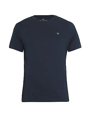 Ruggers Blue Round Neck Solid T-Shirt