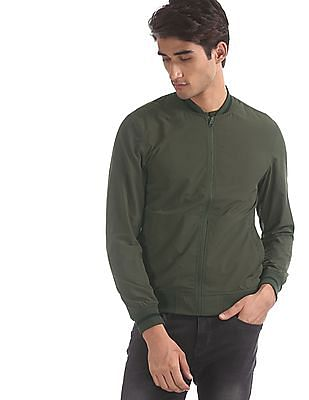 Flying Machine Green Solid Bomber Jacket