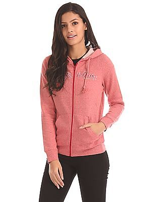 U.S. Polo Assn. Women Heathered Zip Up Sweatshirt